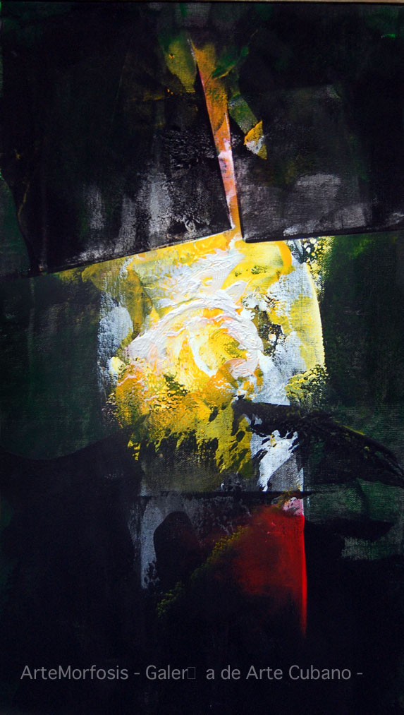 HIDDEN LIGHT - Acrylic and oil on canvas 100 x 45 cm 2010 Signed in Beijing