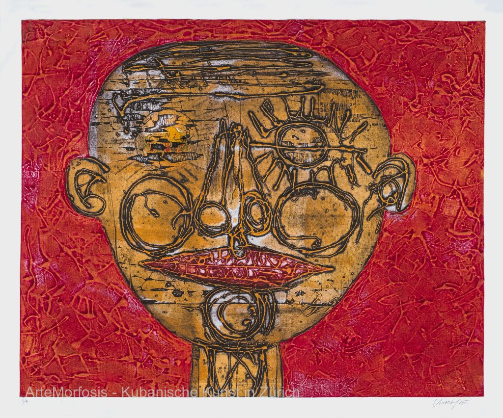 Fat Coloured Lips - 2015 - Collagraphy on Paper - 107 x 89 cm