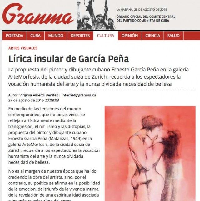Ernesto García Peñas exhibition 'Island Lyrics' in granma.cu