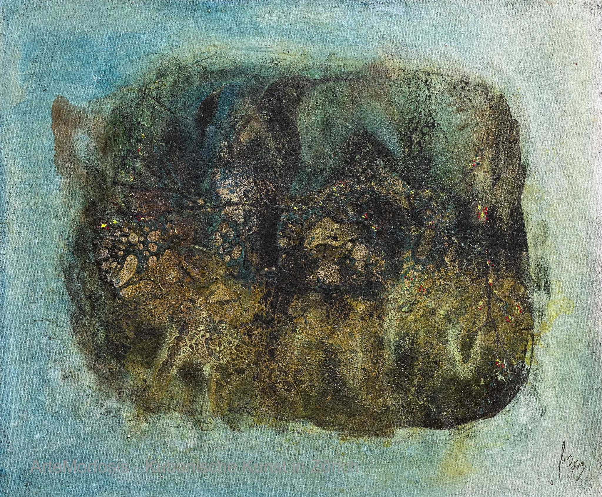 Li D Fong: Viajeros / Travellers - mixed on Canvas - 2016 - 59 x 70 cm