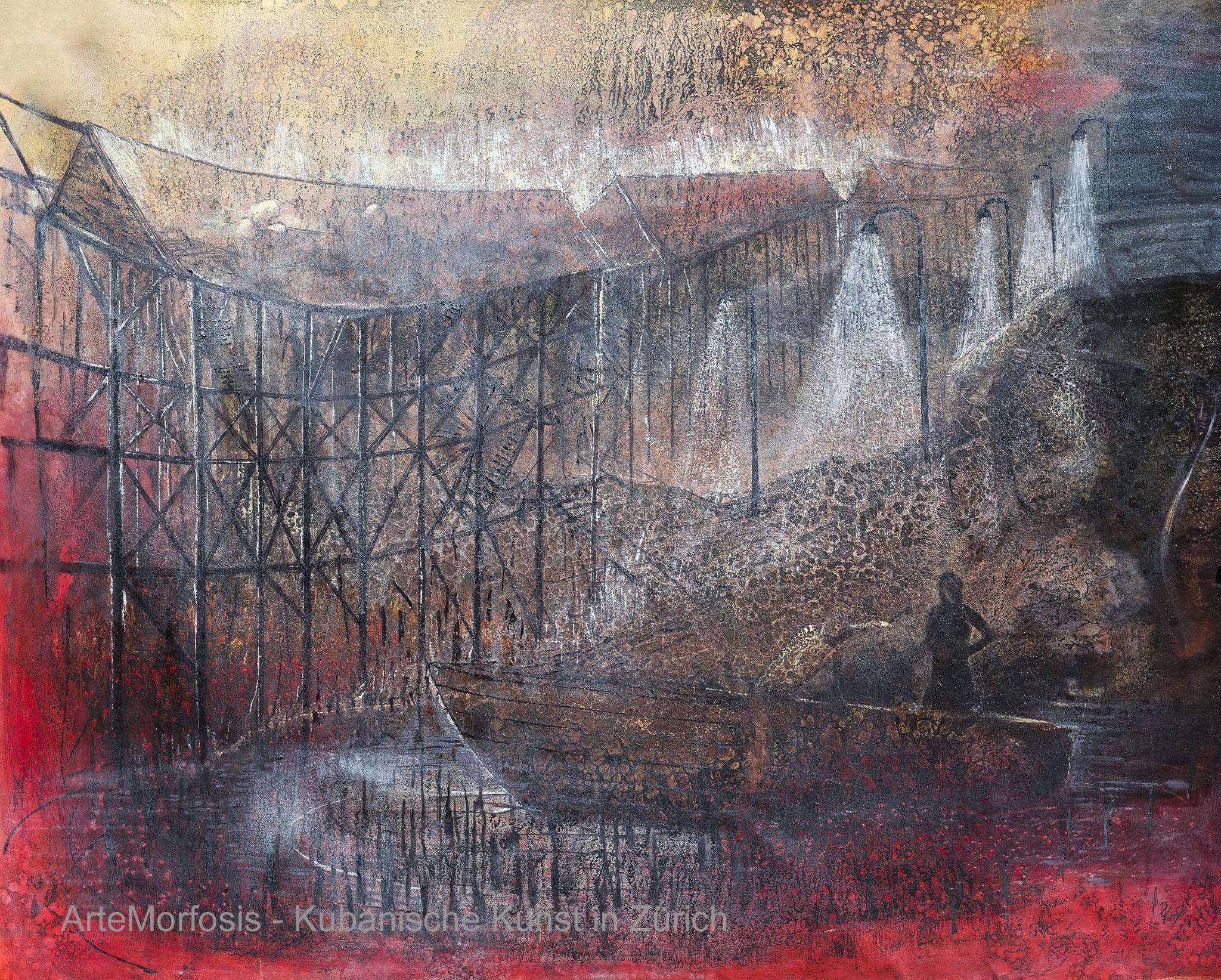 Li D Fong: Recuerdos de ciudad colgante / Memories of Hanging City - Mixed on Canvas - 2016 - 143 x 190 cm
