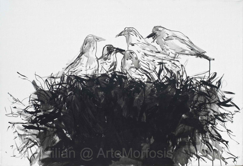 OSY MILIAN - Birds, Acrilico/lienzo, 65 x 95 cm, 2016