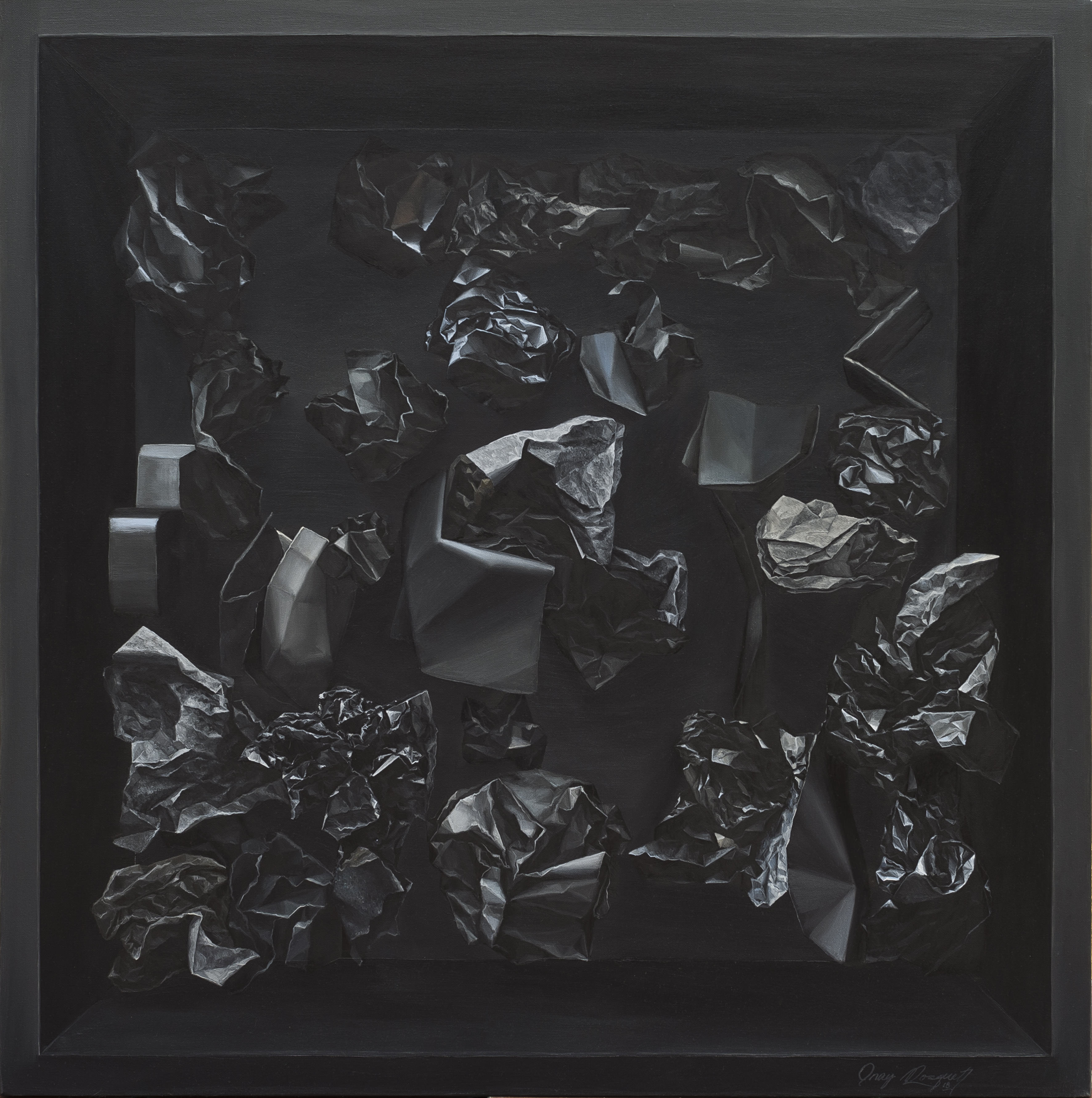 Onay Rosquet - Charcoal, 2018, Oil on canvas, 80 x 80 cm