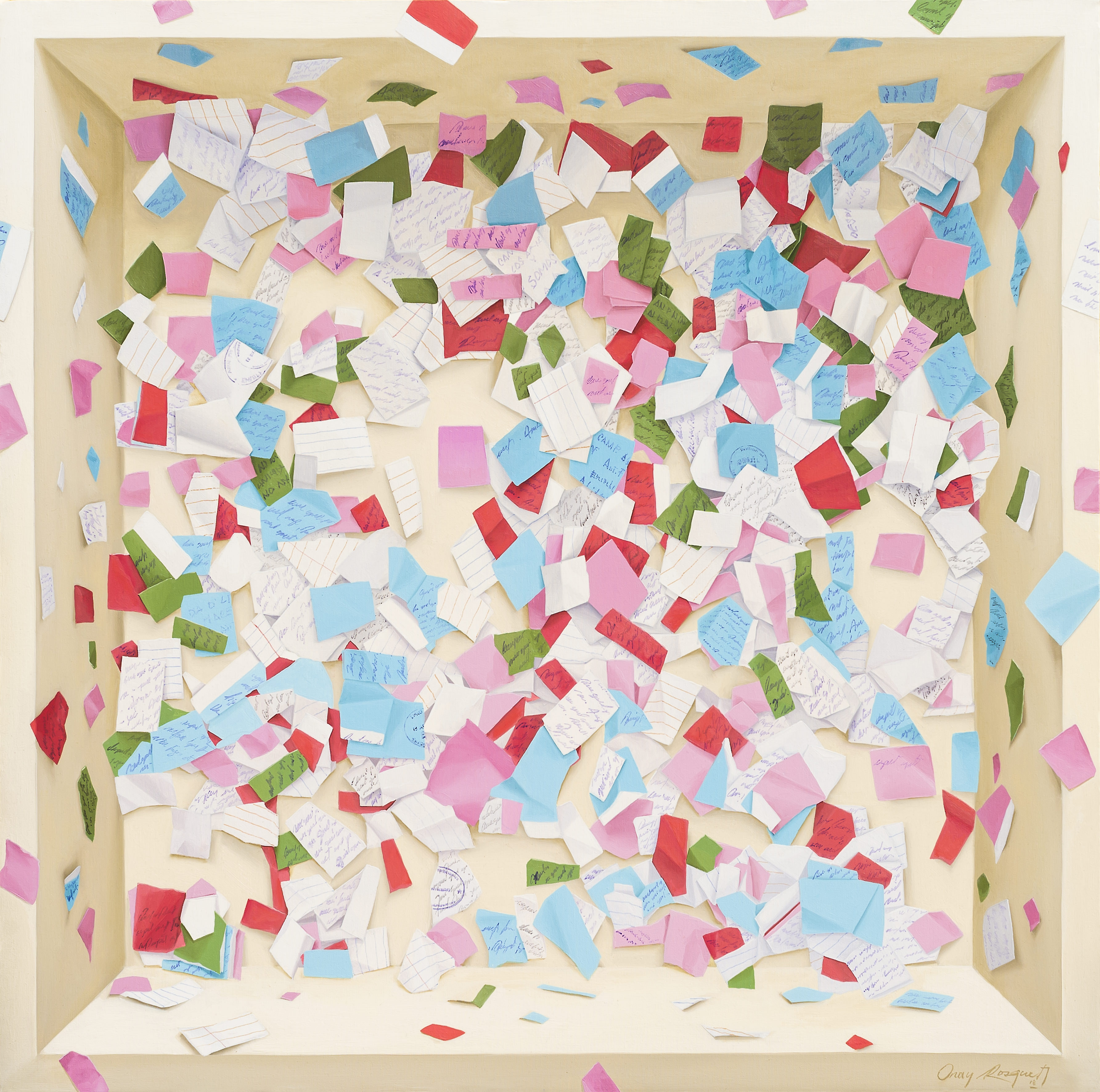 Onay Rosquet - Confetti, 2018, Oil on canvas, 100 x 100 cm