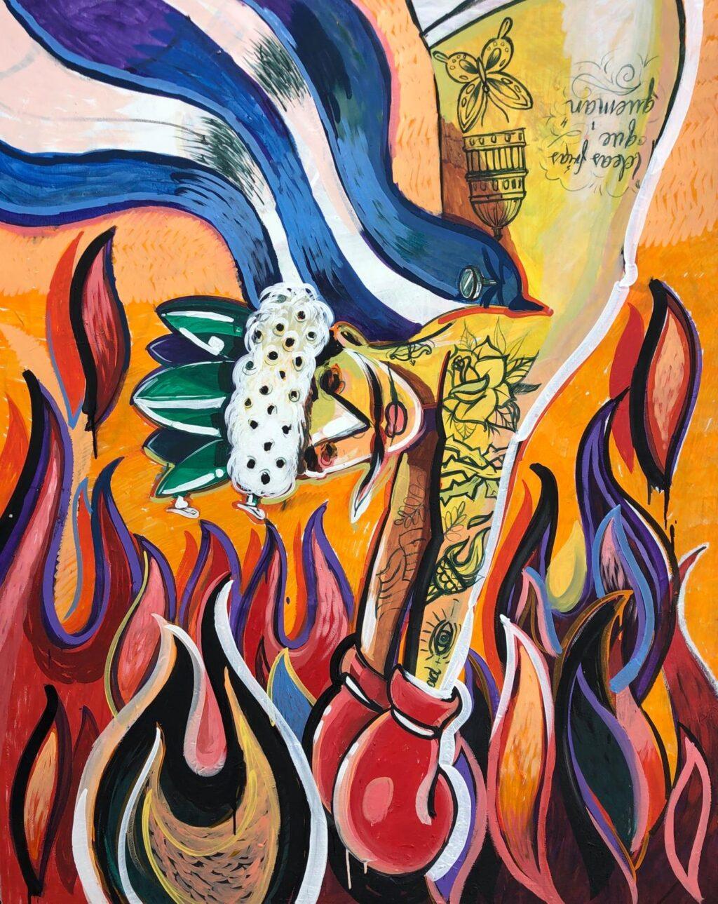Marco Arturo Herrera - Pa' la caliente 2020, Mixed on canvas, 170 x 140 cm